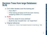 Decision Trees from large Databases: SLIQ