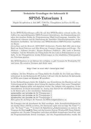 SPIM-Tutorium 1 - Institut für Informatik