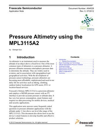 Pressure Altimetry using the MPL3115A2 - Freescale