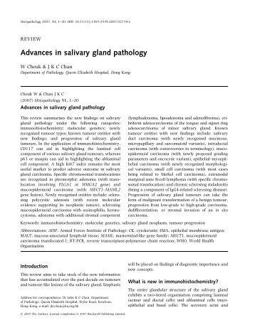 Advances in salivary gland pathology