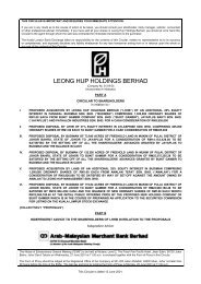 LEONG HUP HOLDINGS BERHAD - Announcements