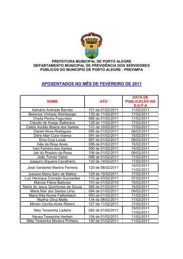 APOSENTADOS NO MÊS DE FEVEREIRO DE 2011 - Procempa