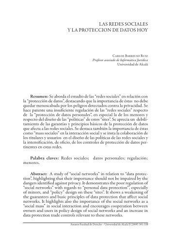 las redes sociales y la proteccion de datos hoy - Universidad de Alcalá