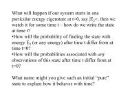What will happen if our system starts in one particular energy ...