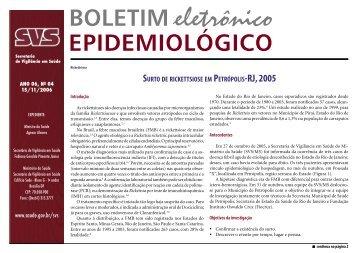 Surto de Rickettsiose em Petrópolis-RJ, 2005 - BVS Ministério da ...