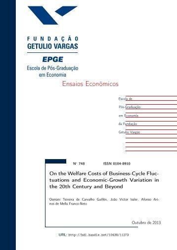 Ensaios Econômicos - Sistema de Bibliotecas da FGV - Fundação ...