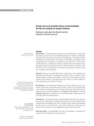 Estudo acerca de decisões éticas na terminalidade da vida em ...