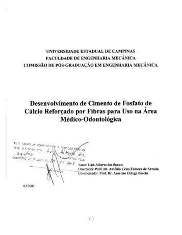 Desenvolvimento de Cimento de Fosfato de Cálcio Reforçado por ...