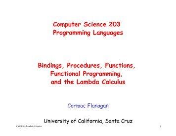 Bindings, Procedures, Functions, Functional Programming, and the ...