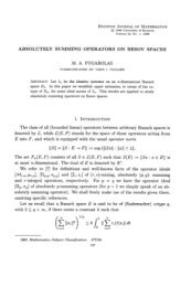Absolutely Summing Operators On Besov Spaces - University of ...