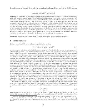 Error Estimate of Integral Deferred Correction Implicit Runge-Kutta ...