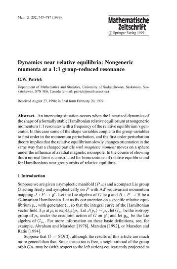 Dynamics near relative equilibria: Nongeneric momenta at a 1:1 ...