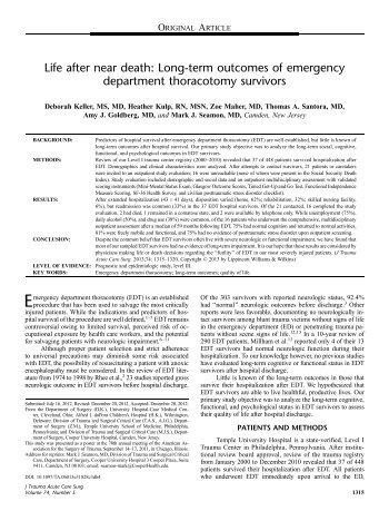 Life after near death: Long-term outcomes of ... - Cedars-Sinai
