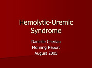 Hemolytic Uremic Syndrome - August 2005