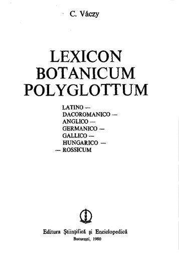 LEXICON BOTANICUM POLYGLOTTUM - MEK