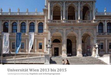 Leistungsvereinbarung: Ergebnis und ... - Universität Wien