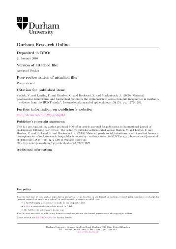 Material, psychosocial, behavioural and biomedical factors in the ...