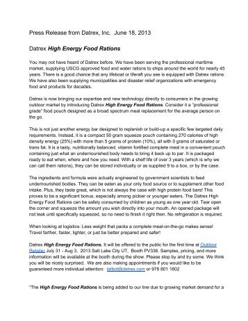 Press Release from Datrex, Inc. June 18, 2013 Datrex High Energy ...