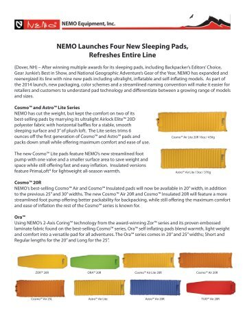 NEMO Launches Four New Sleeping Pads, Refreshes ... - GoExpo