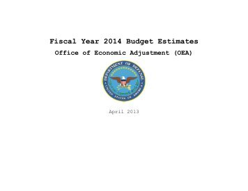 Fiscal Year 2014 Budget Estimates Office of Economic Adjustment