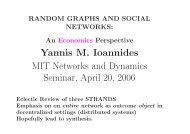 Yannis M. Ioannides MIT Networks and Dynamics Seminar, April 20 ...