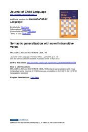 Syntactic generalization with novel intransitive verbs. - MIT