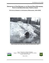 1) deposition of fine sediment in the salmon river watershed