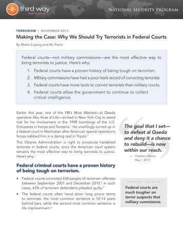 Making the Case: Why We Should Try Terrorists in ... - Third Way