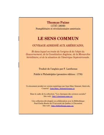 LE SENS COMMUN - Les Classiques des sciences sociales - UQAC