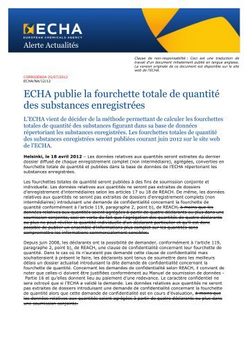 ECHA publie la fourchette totale de quantité des ... - ECHA - Europa