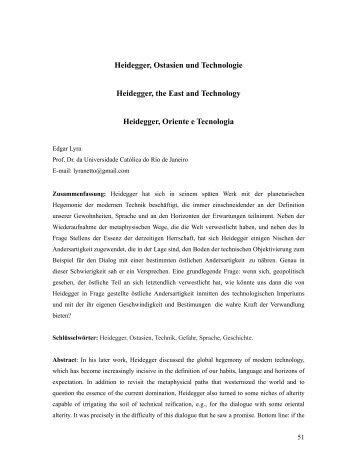 Heidegger, Ostasien und Technologie Heidegger, the East ... - PePSIC