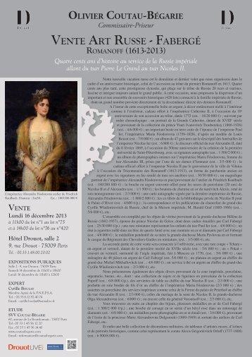 Vente Art russe - FAbergé romAnoFF (1613-2013)
