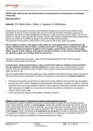 Autorët: GS Merki-Feld, J. Bitzer, J. Seydoux, M. Birkhäuser. - SGGG