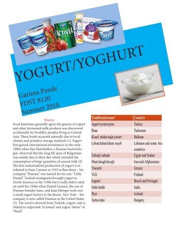 YOGURT/YOGHURT