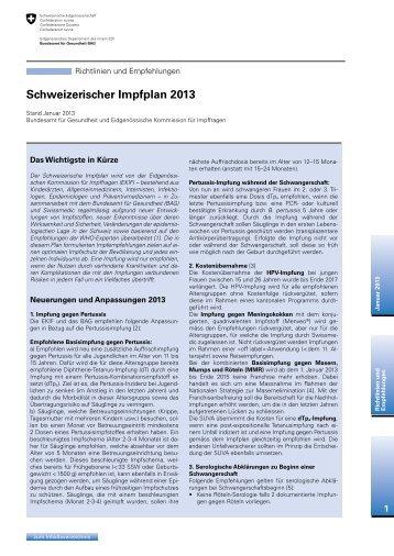 Schweizerischer Impfplan 2013 - Bundesamt für Gesundheit - admin ...