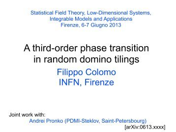 A third-order phase transition in random domino tilings - Florence ...