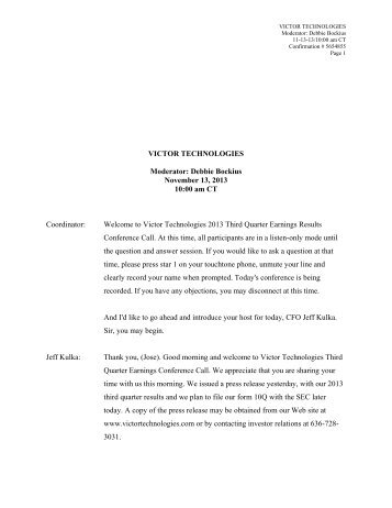 Victor Technologies Group, Inc. 2013 Third Quarter Earnings ...