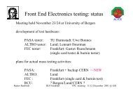 Front End Electronics testing: status - GSI