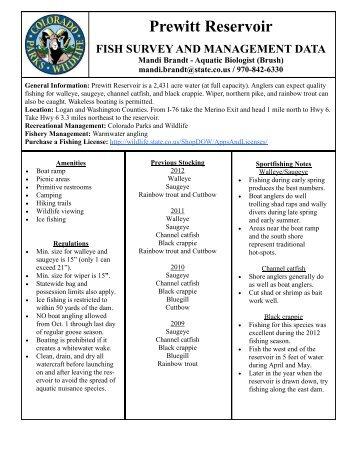 Prewitt Reservoir - Colorado Division of Wildlife
