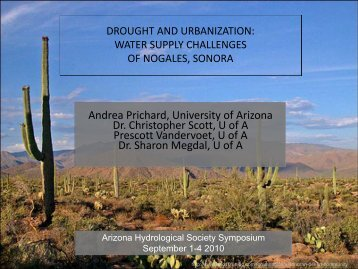 Water Supply Challenges of Nogales, Sonora