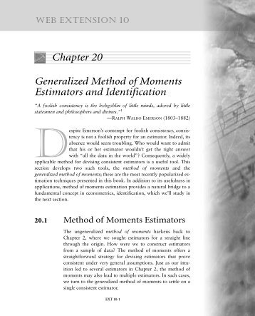 Chapter 20 Generalized Method of Moments Estimators and ...