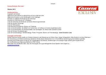 Vorwort Carrera Exclusiv: Die Liste ! Oktober 2013 ... - 124er.de