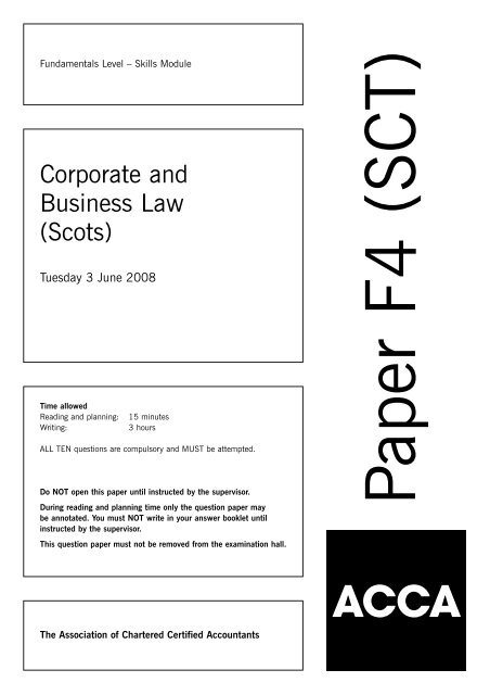Corporate and Business Law (Scots) - ACCA