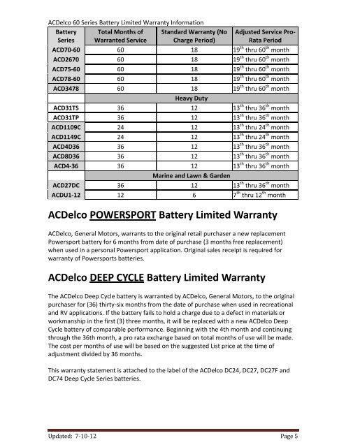 Ac Delco Battery Warranty >> 4da 18 8da 18 Advantage S