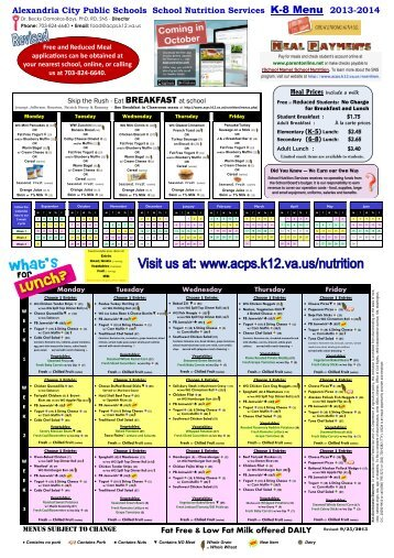 ACPS Elementary and Middle Schools Menu - Alexandria City ...