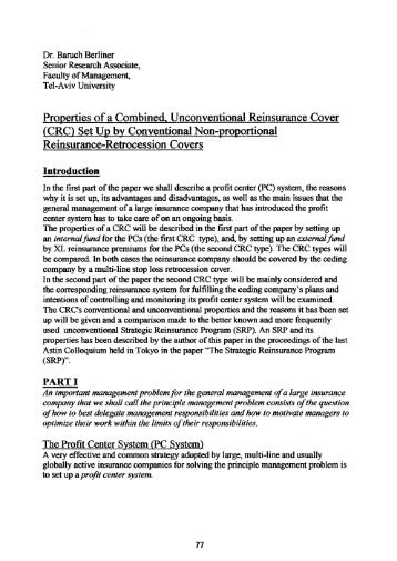 Properties of a Combined Unconventional Reinsurance (CRC) Set ...