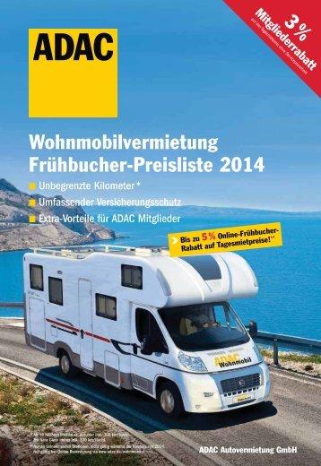 Wohnmobilvermietung Frühbucher-Preisliste 2014 - ADAC