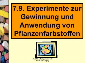 7.9. Experimente zur Gewinnung und Anwendung von ...
