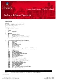 Index – Table of Contents - University of Adelaide