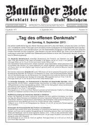 """Tag des offenen Denkmals"" am Sonntag, 8. September ... - Adelsheim"